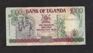 1000 SHILLINGS FINE BANKNOTE FROM UGANDA 1991 PICK-34