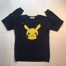 Pokemon Pikachu Navy Blue Long Sleeve Top Women's Size (Large)