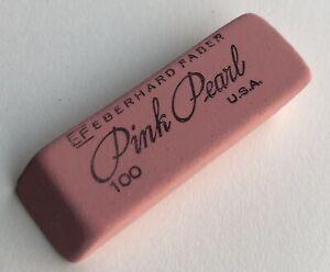 Vintage Eberhard Faber NOS Pink Pearl 100 Double Bevel Pencil Eraser USA