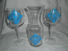 WINE CARAFE AND TWO WINE GLASSES SET HAND PAINTED