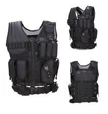 Men Adjustable Swat Molle Combat Tactical Vest Pistol Holster Modular Assault