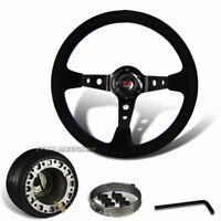 6 Hole 350mm Black Suede Leather Deep Dish Style Steering Wheel + Hub For Nissan