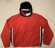 Vintage 90s Tommy Hilfiger Flag Logo Colorblock Jacket Large red white blue Hood