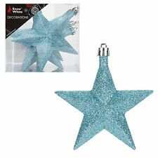 Snow White Shatterproof Christmas Tree Decoration 6 Glitter Star 10mm Glaçon