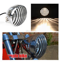 Chrome moto festonnée phare ailettes grill headlight pour Harley Bobber Chopper
