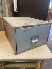 Vintage Metal Industrial Office Index Card Desktop Filing Cabinet Storage Drawer