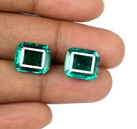 Zambian Emerald Gemstone Pair Natural VS Clarity 10-12 Ct Octagon AGSL Certified