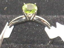 COOL GIRLS 14K GOLD + STERLING SILVER RING* PERIDOT STONE*SZ 7 *BEAUTY