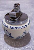 DELFTS HANDPAINTED Tischfeuerzeug Vintage, Benzinfeuerzeug, Hamburg Hafen #K05