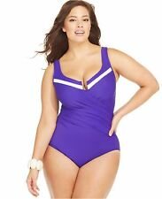 Miraclesuit Plus 20W Colorblock Escape Swimsuit One Piece Bathing Suit Purple
