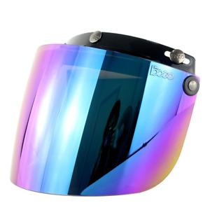 Retro Moto Casco Aperto Integrale Visiera 3-Snap Ribaltabile Protezione Lente