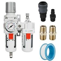 "NANPU 3/8"" NPT Compressed Air Filter Regulator Lubricator Combo w/ Gauge"