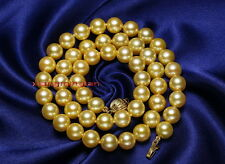 "AAAAA 18""10-11mm NATURAL REAL round South sea golden yellow pearl necklace 14K"