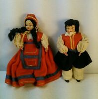 Vtg 2pc Italy Miniature Traditional Period Dress Couple Boy Girl Felt Cloth Face