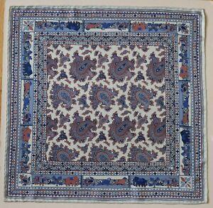 Silk pocket square handkerchief. Paisley, Elephants print 42cm Hand rolled
