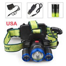 Skywolfeye 60000LM Headlamp CREE XML 3X T6 Headlight+18650+Wall/Car Charger USA