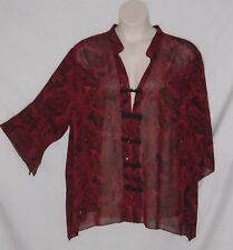 3X - Maggie Barnes – Asian Inspired Blouse – Red & Black - Frog Buttons -New $42