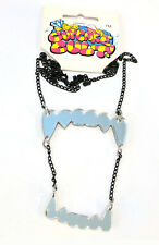 Cupcake Cult Dracula fangs silver teeth necklace 24 inch chain halloween gothic