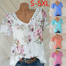 Summer Women Casual Lace Short Sleeve T Shirt V Neck Floral Tops Loose Blouse