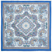 Blue 100% Cotton Pavlovo Posad Shawl  1746-13 Authentic Russian Paisley Floral
