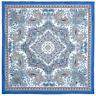 Blue 100% Cotton Pavlovo Posad Shawl  1746-13 Authentic Russian Paisley Floral