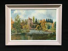 Tableau HUILE Paysage Animé Rivière Château Signé F. MERMET + Cadre 73 x 53 cm