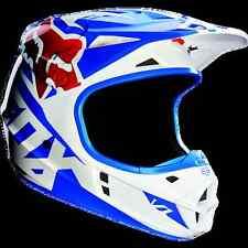 Casco Cross Enduro DH Fox V1 Race Blu Bianco Rosso Helmet Casque  Taglia L