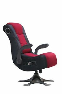 X-Rocker 5129101 Pedestal Video Gaming Chair 2.1 Microfiber Mesh Black/Red