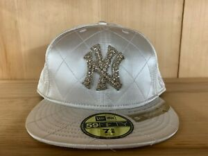 NEW ERA NEW YORK YANKEES FITTED HAT CAP 59FIFTY WHITE WOMENS SZ 7-8