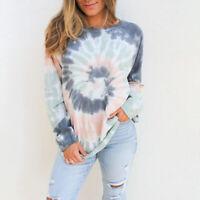 Damen Pullover Sweatshirt Tops Frauen Hemden Langarm Bedruckt Freizeit