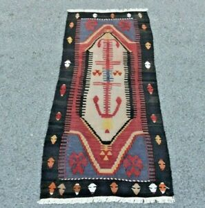Turkish Vintage Kilim Cappadocia Tribal Handmade Bohemian Wool Runner Rug 2x4 ft