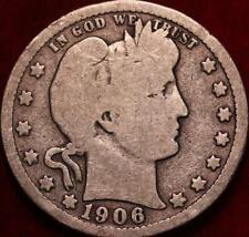 1906-D Denver Mint Silver Barber Quarter