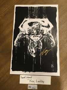 Superman 11 x 17 inch Comic Art Poster Signed by Artist Ken Lashley [D61]