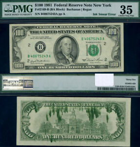 FR. 2169 B $100 1981 Federal Reserve Note New York Ink Smear Rev PMG VF35