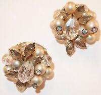 Vintage Vendome Rhinestone Faux Pearl Aurora Borealis Crystal Bead Clip Earrings