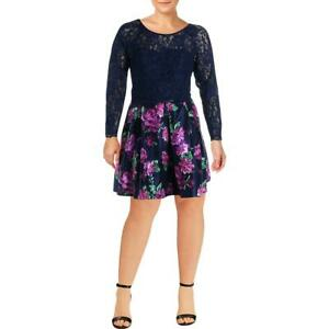 Sequin Hearts Womens Navy Plus 2PC Lace Skirt Outfit Juniors 20  6890