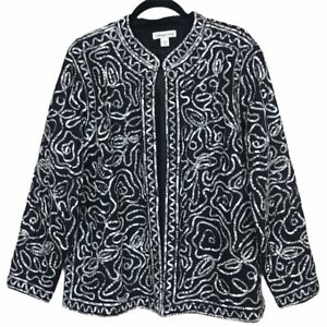 Coldwater Creek Abstract Print Open Front Jacket Women's 2X