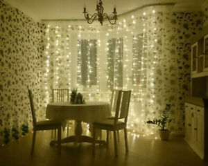 2M/3M/6M Window Curtain LED Lights Icicle String Fairy Xmas Wedding Party Decor