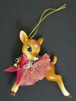 Robert Stanley Retro Style Reindeer/Doe Pink Bow Christmas Ornament NEW