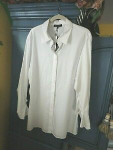 Lafayette 148 New York White Stretch Shirt Tunic Sleeve Detail 14 16 18 XL XXL