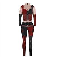 Suicide Squad Harley Quinn Jumpsuit Goth Women Fancy Bodysuit Cosplay Costume