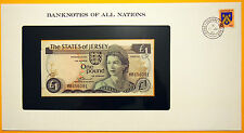 Jersey 1 Pound 1972-1983 Uncirculated Banknote in see through stamped envelope.