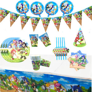 Sonic The Hedgehog Birthday Plates Flags Tableware Tablecover Party Decoration