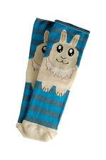 Ladies 1 Pair Bunny Rabbit socks stripe Novelty Ears/Paws Cute Blue/Grey Fun