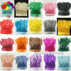 4-6Inch 10Meter Top Quality Dyed color Stripped Rooster Coque Tail Feathers Trim