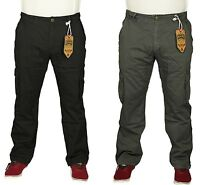 Mens Brand New Cargo Combat Trousers KAM In Black & Charcoal Colours 30 To 40