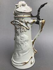 ½L Jugendstil Porzellan Bierkrug Mädchen Geko Hopfen Porcelain Beer Stein Mug~10