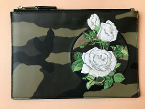 New DIOR HOMME Camouflage Leather ROSES embroidery Pouch Khaki Black Pochette