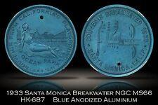1933 Santa Monica Breakwater Aluminum HK-687 NGC MS66 Blue Anodized Variety