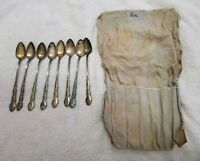 (8) 1881 Rogers Oneida Ltd Plantation Silverplate Spoons w/Pouch (Pre-Owned)